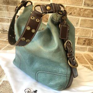 Coach Chelsea leather mineral blue hobo handbag
